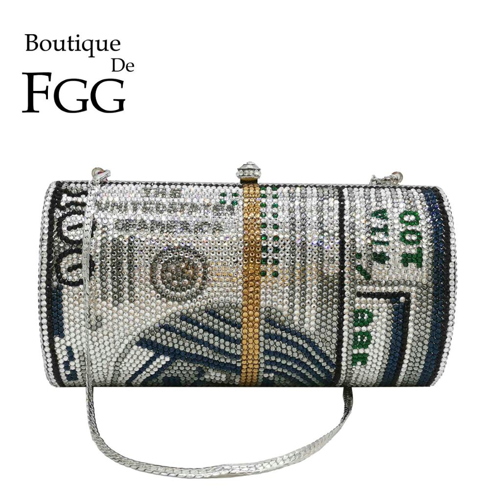 Boutique De FGG Novelty Oval Barrel Of Cash Women Money Crystal Evening Clutch Bag Party Diamond Minaudiere Handbags And Purses