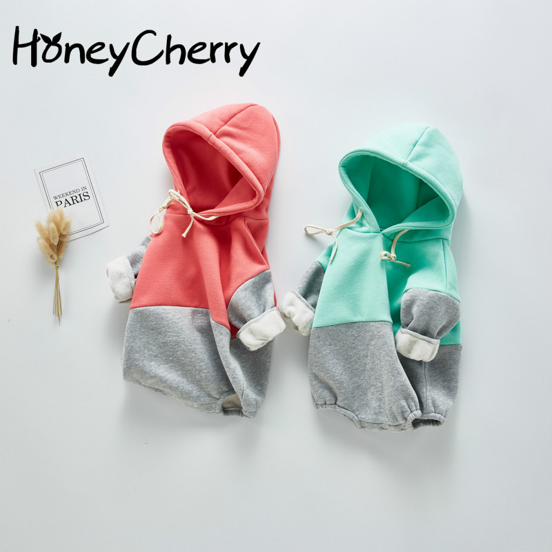 2020 New Baby Bodysuit Baby Splicing Color Long Sleeve Clothes Female Baby Hooded Cotton Creeper Baby Girl Clothes