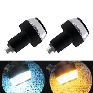 2pcs Motorcycle LED Lightings Yellow And White Double Light Modified Handlebar LED Turn Signal For Cafe Racer