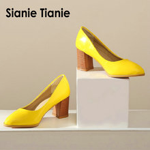 Sianie Tianie patent PU leather plain color yellow orange womens shoes block ladies pumps sapato feminino  wedding shoes size 46