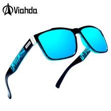 Viahda óculos de sol polarizado masculino, óculos de sol retrô para homens, colorido, espelhado, de luxo
