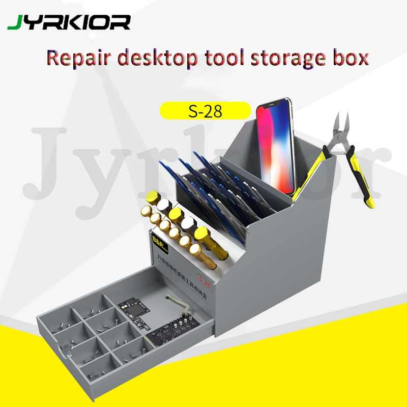 Jyrkior Multi-Function Repair Tools Desktop Organizer Storage Box Mobile Phone Maintenance Component Box Screwdriver Holder Tool
