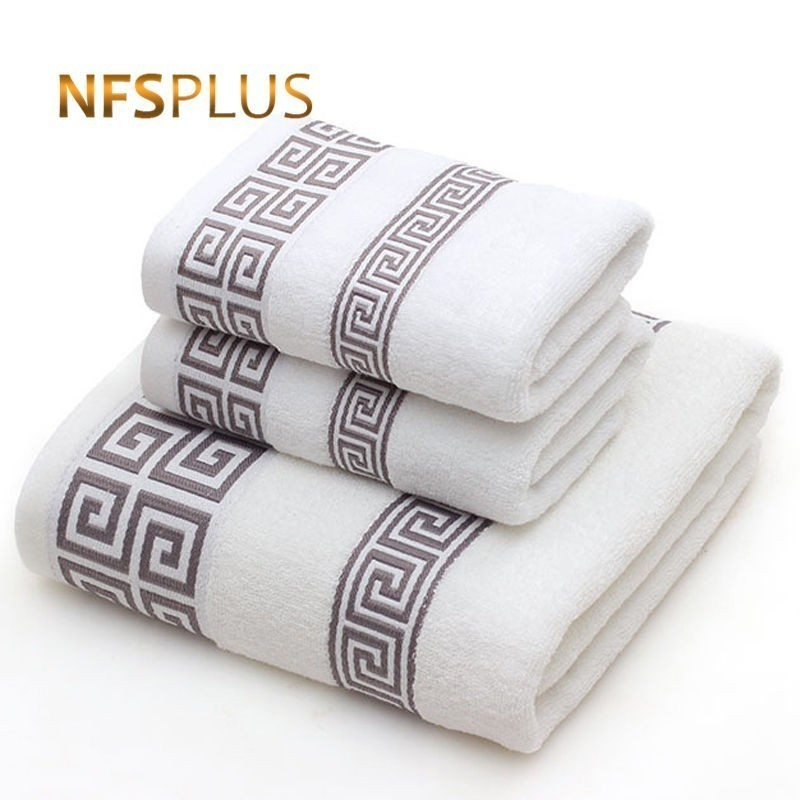 Cotton Towel Set for Adults 2 Face Hand Towel 1 Bath Towel Bathroom Solid Color Blue White Terry Washcloth Travel Sports Towels