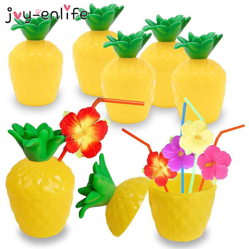 Hawaii Flamingo Birthday Party Pineapple Coconut Plastic Drink Cup Inflatable Swimming Pool Float Cup Holder Summer Beach Party