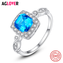 2019 New 925 Sterling Silver Ring Blue Large Zircon Ring For Women Men Fashion Wedding Party Jewelry Christmas Best Gift
