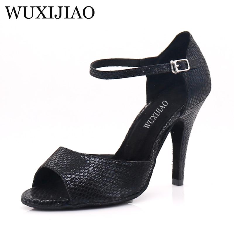 WUXIJIAO Women Salsa Party Ballroom Shoes Latin Dance Shoes Big Small Rhinestone Shining Skin Black Satin  Cuba Heel 9cm