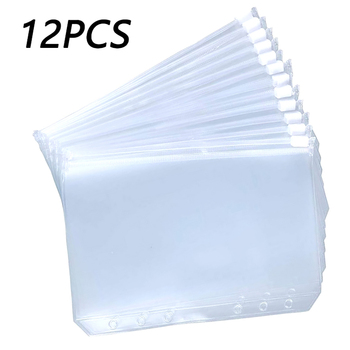12PCS Binder Pockets A5 A6 A7 Zipper Folders for 6-Ring Notebook Transparent Loose Leaf Pouch Document Filing Bags