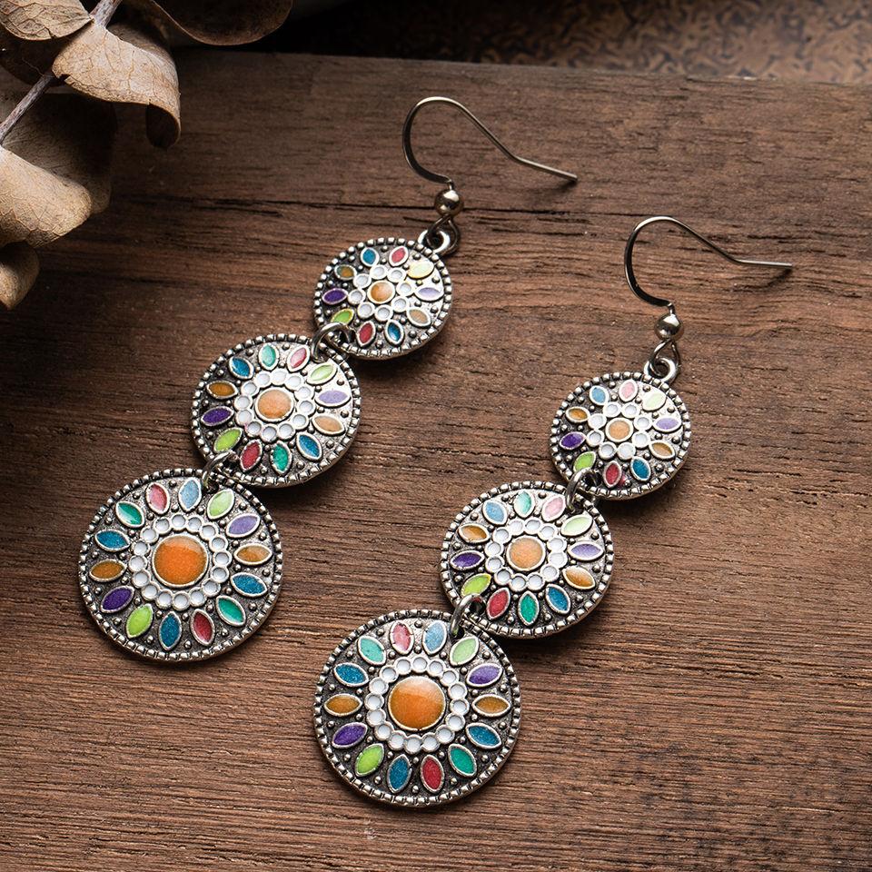 Разноцветные винтажные этнические серьги-капли в стиле бохо для женщин, модные 2020 индийские ювелирные изделия, свадебные Висячие серьги дл...