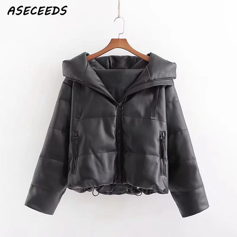2019 hiver veste femmes parka vintage noir cuir vestes manteaux streetwear femme bouffante veste coréen à capuche manteau vêtements d'extérieur