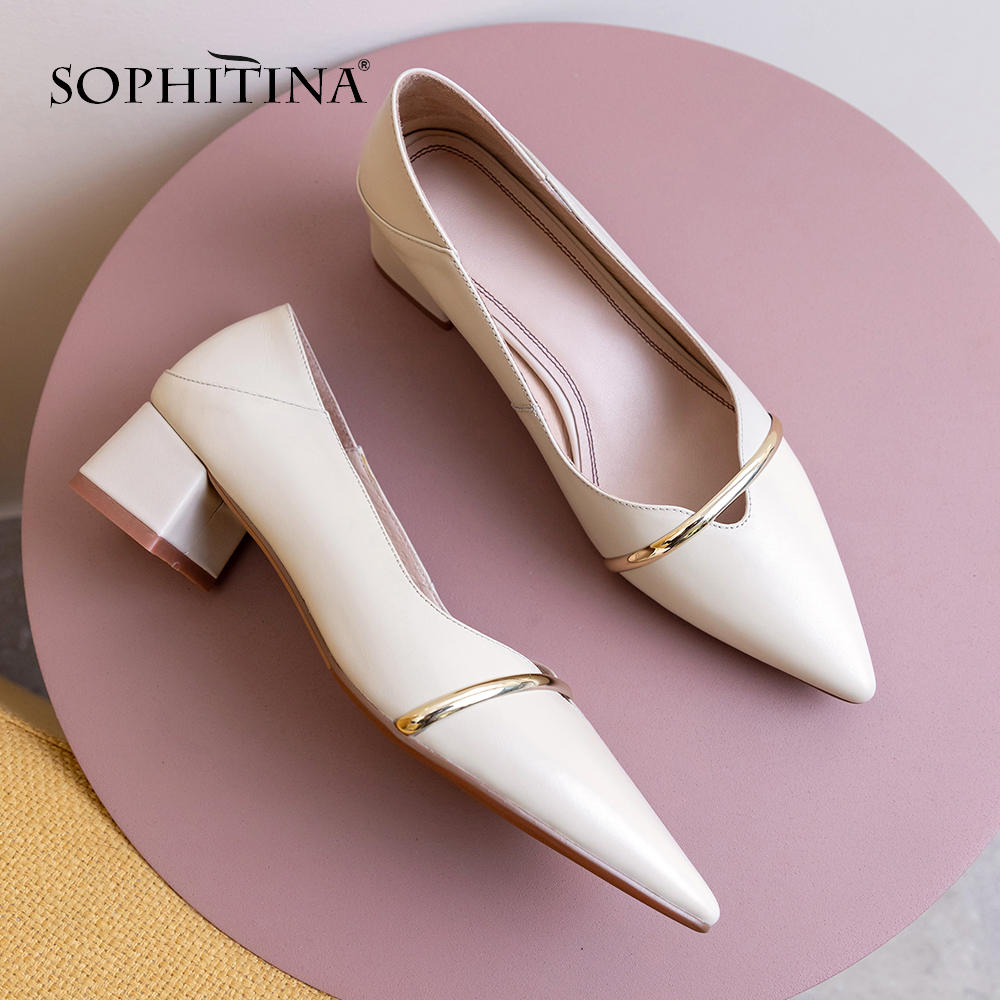 SOPHITINA Pointed Toe Women Pumps High Quality Cow Leather Metal Decoration Slip-On Comfortable Shoes Office Elegant Pumps PO516