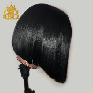 Image 2 - 짧은 밥 스트레이트 가발 130% 밀도 레미 인간의 머리 가발 여성을위한 자연 블랙 컬러 pre plucked bib hair