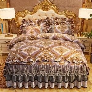 Image 2 - Parure de couette Chic Vintage, en dentelle à volants, avec jupe de lit et taies doreillers, ensemble de literie de luxe, Ultra doux et chaud, pour lhiver