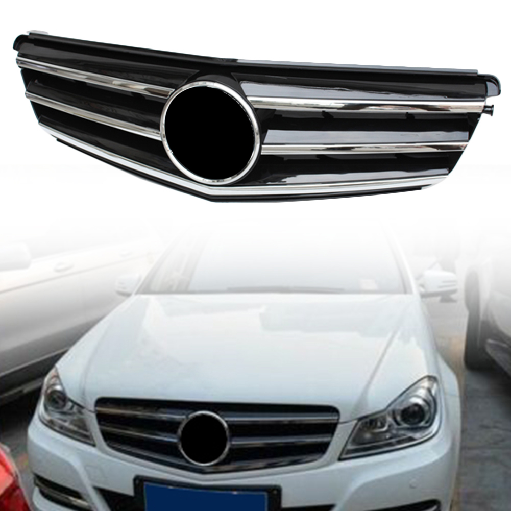 Car Front Grille Upper Grill For <font><b>Mercedes</b></font>-Benz C-Class W204 <font><b>C300</b></font> C350 C250 2008 2009 2010 2011 <font><b>2012</b></font> 2013 2014 Chrome Black ABS image