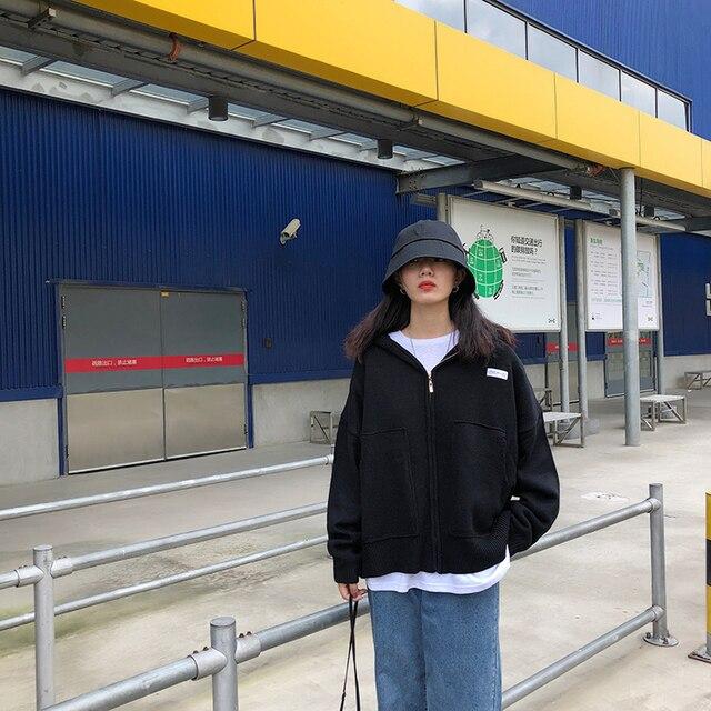 4 couleurs tricoté chandail Cardigan femmes à capuche 2019 tricot chandail femmes grande poche zipper chaud veste manteau automne (F1401)