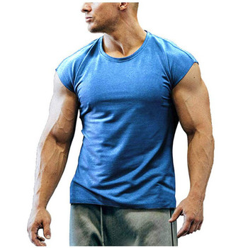 6 colors summer mens short-sleeved casual round neck fitted streetwear solid color T-shirt hip-hop high street top M-3XL