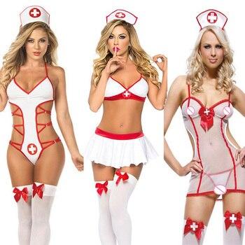 Lencería Sexy para mujer, disfraces sexys de enfermera Porno, lencería erótica de encaje blanco, lencería erótica, lencería erótica