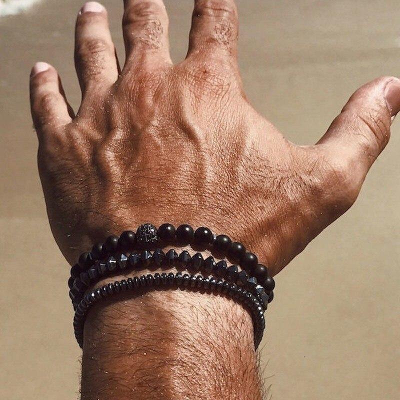 2019 New Fashion Men Bracelet Sets Trendy Handmade Classic Strand Stone Beaded Bracelet For Men Jewelry