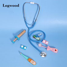 Wooden Simulation Doctor Toy Set Real Life Game Kids Stethoscope Earpiece Set Play a Nurse Simulation Injection Tool