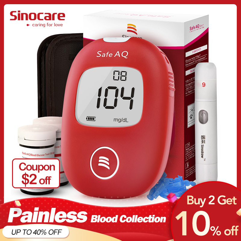 Sinocare Safe AQ Smart Mg/dL Mmol/L Blood Glucose Meter Diabetes Glucometer Kit &Test Strips Lancets Painless Blood Sugar Tester