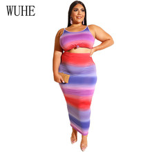 WUHE Two Pieces Sets Bodycon Tie Dyeing Dress Large Size 4XL 5XL Sleeveless High Waist Big Office Lady Style Women Clothing