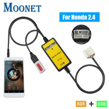 Moonet áudio do carro usb aux adaptador 3.5mm interface aux cd changer para honda accord piloto s2000 civic CR-V qx003(China)