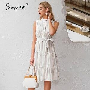 Image 5 - Simplee Vestido largo informal a rayas para verano sin mangas