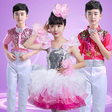 Children's Latin dance jazz dance costumes girls dance clothes children's dance pettiskirts latin dance competition dresses юбка dance