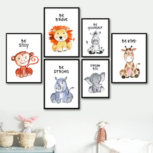 Cartoon Lion Elephant Zebra Giraffe Monkey Nordic Posters And Prints Wall Art Canvas Painting Animal Pictures For Kids Room