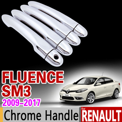for Renault Fluence SM3 2009 - 2017 Chrome Handle Cover Trim Set 2010 2011 2012 2013 2014 2015 Accessories Stickers Car Styling
