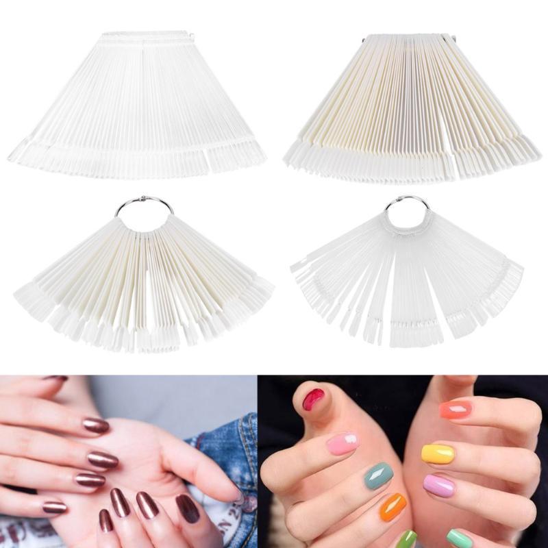 50pcs Nail Art False Tips Sticks Practice Display Fan Design Polish Nail Sample Nail Art Material Manicure Display Makeup Tools
