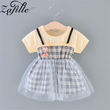 ZAFILLE New Baby Summer Dress Patchwork Baby Girl Clothes Mesh Plaid Girls Dress Toddler Infant Girls Clothing Cute Kids Clothes zafille new baby girl clothes summer dress for girls patchwork mesh girls dress short sleeve toddler kids clothes princess dress