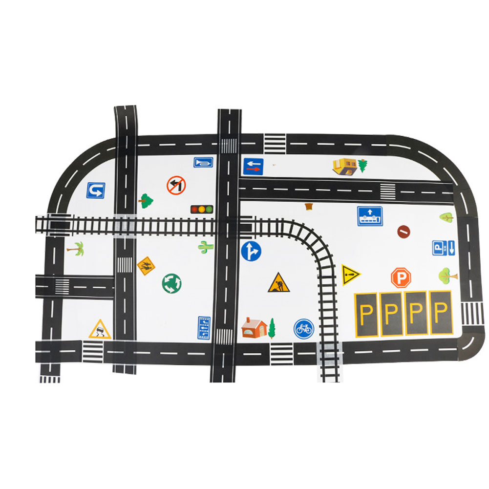 Kids Crafts Road Tape DIY Traffic Sign Model Self Adhesive Train Track Sticker Roll Tape For Car Toys Kids Educational Toys