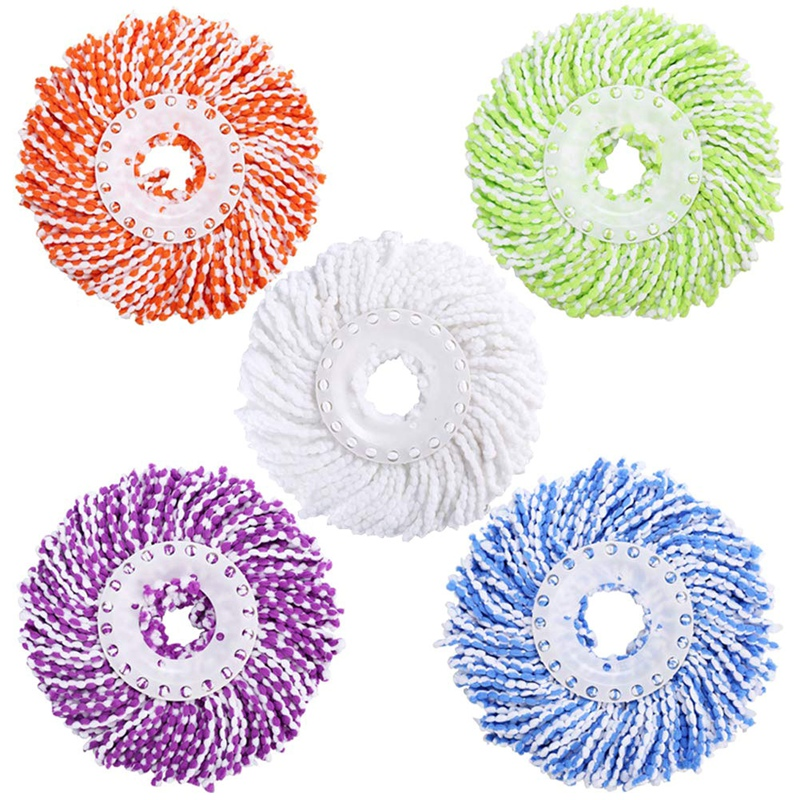 Microfiber Cotton Spin Mop Heads Replacement - 5 Pack Refills Compatible 360 Spinning Magic Mops - Round Shape Standard Size M