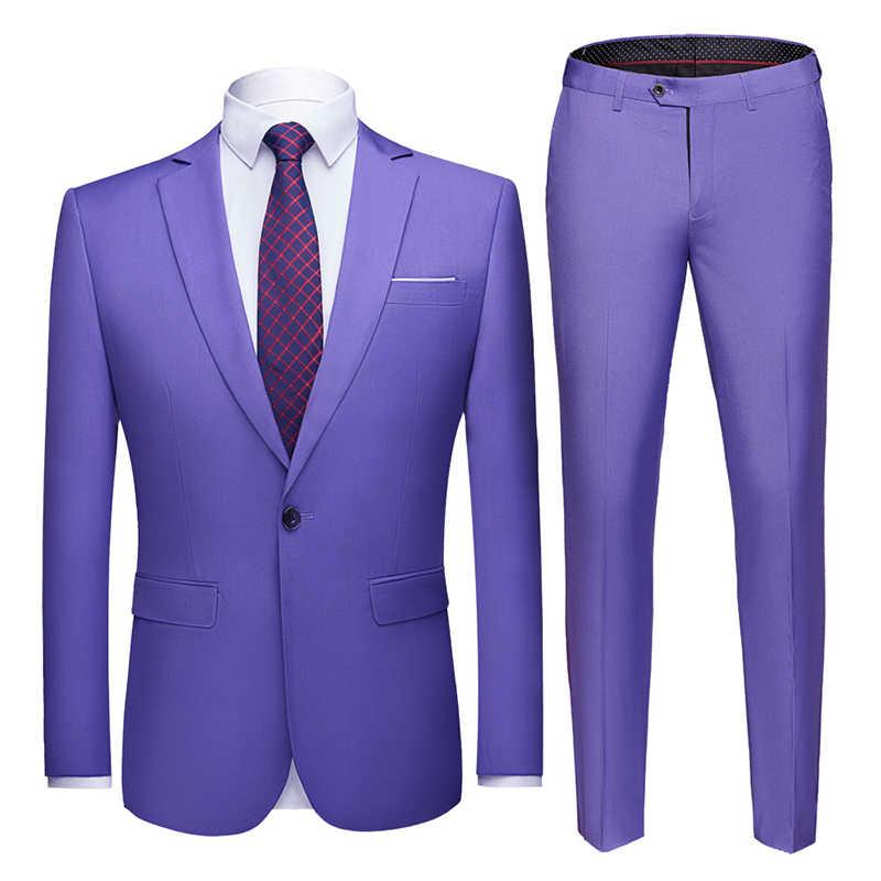 男性はスリムフィットビジネス制服オフィススーツ結婚式新郎パーティー 2 のジャケットパンツノッチラペルシングルボタン正式なカジュアル