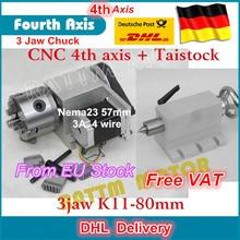 K11 80mm 3 mâchoires mandrin 80mm 4th axe & contre pointe CNC tête de division/axe de Rotation kit pour Mini CNC routeur/gravure sur le bois