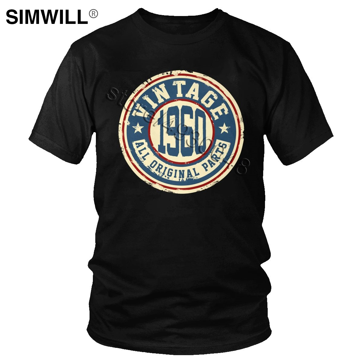Awesome Cotton Vintage 1960 T Shirt Short Sleeves Born In 60S Tshirt 60th 60 Years Old T-shirt Birthday Gift Anniversary Tops