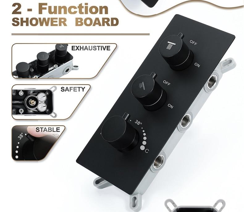 M Boenn Luxury Shower Systems Set High Pressure Rain LED ShowerHeads Music Shower Panel Thermostatic Mixer Brass Bathroom Faucet