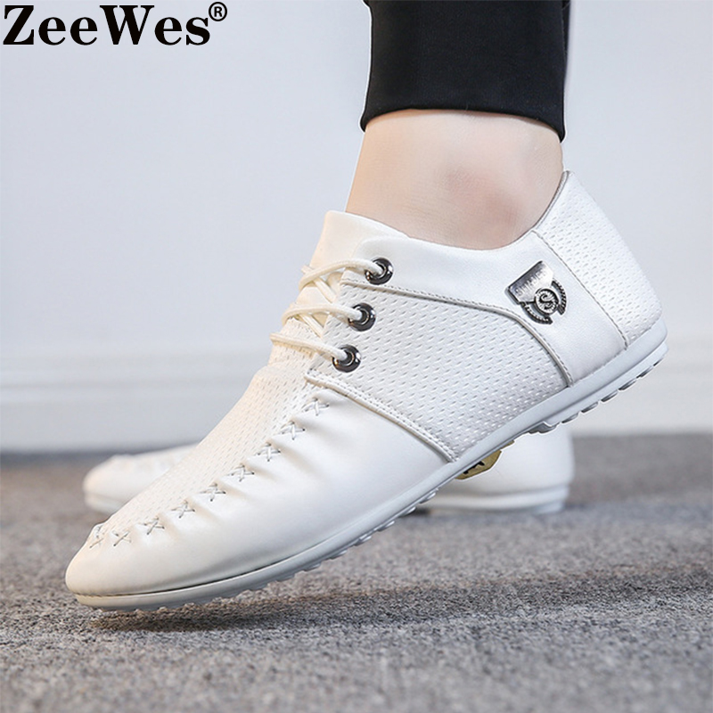 Male Footwear Unisex Flat White Shoes Brand New Loafers Men Leather Casual Shoes High Quality Adult Moccasins Men Driving Shoes