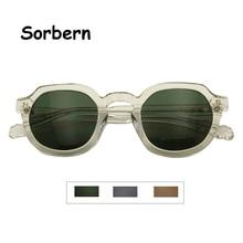 Asetat erkek güneş gözlüğü yuvarlak gözlük Vintage Retro yeşil güneş gözlüğü sokak tarzı tonları kadınlar şeffaf gözlük UV400