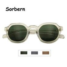 Óculos de sol masculino de acetato, redondo, vintage, retrô, verde, para rua, lentes transparentes uv400