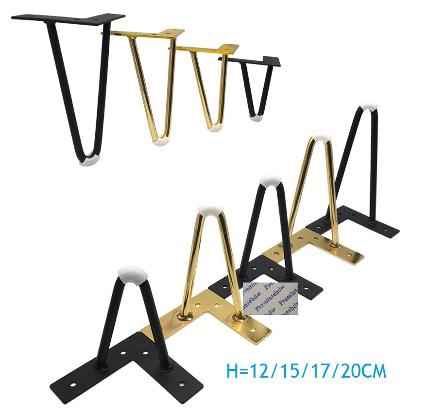 2Pcs/Lot Matte Black Gold Hairpin Furniture Legs Feet For Sofa Couch Coffee Table TV Cabinet Cupboard