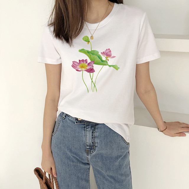 Chinese style, women's short sleeve printed casual T-shirt fashion model in 2020