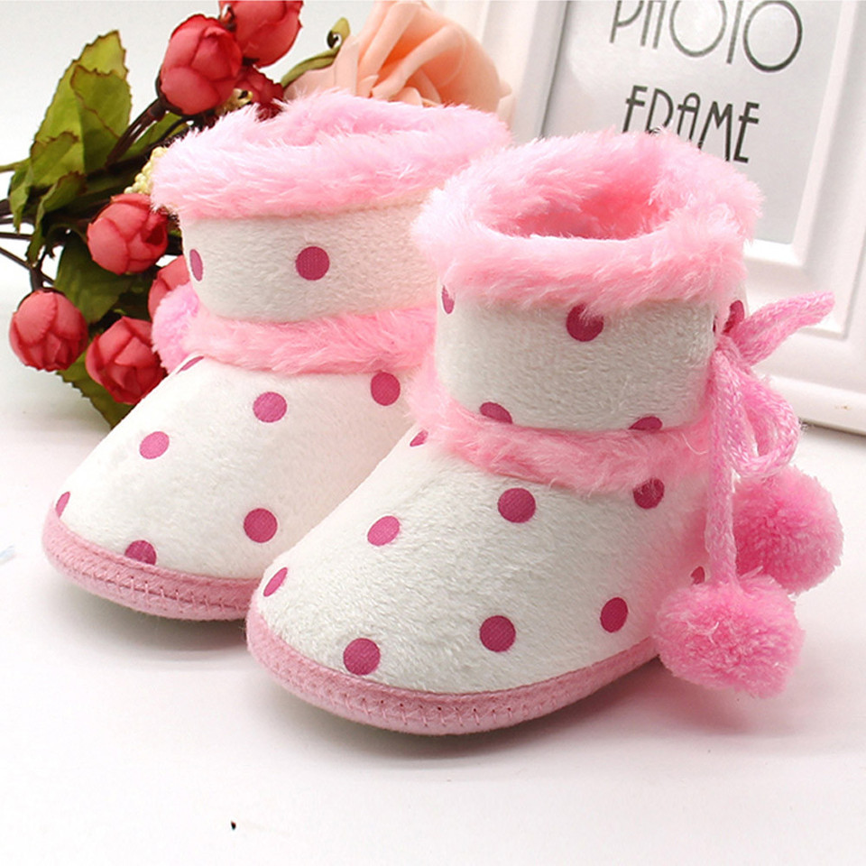 Infants Baby Artificial Leather Ankle Boots Shoes Warm Winter Booties 3-12M