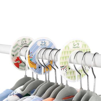 DIY odzież dla dzieci rozmiar dzielniki plastikowe ubrania oznaczenie pierścień rozmiar dzielniki rozmiar odzieży tagi okrągłe wieszaki Rack tanie i dobre opinie CN (pochodzenie) Przywieszki na ubrania Bags DO ODZIEŻY Clothing Ring Size Dividers TŁOCZONA Przyjazne dla środowiska