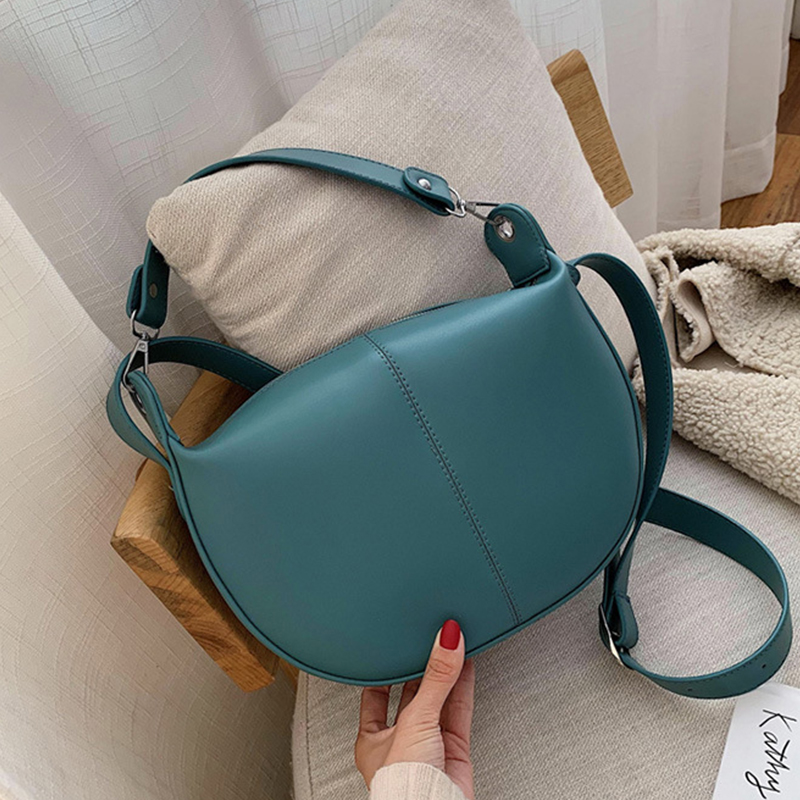 Simple Pu Leather Crossbody Bags For Women 2020 Casual Solid Saddle Bag Women Shoulder Bags Lady Travel Handbags And Purses