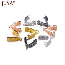 1 par cz pitada clipe bails diy acessórios de jóias para cristal pedra preciosa pingente clipe fecho artesanal brincos suprimentos