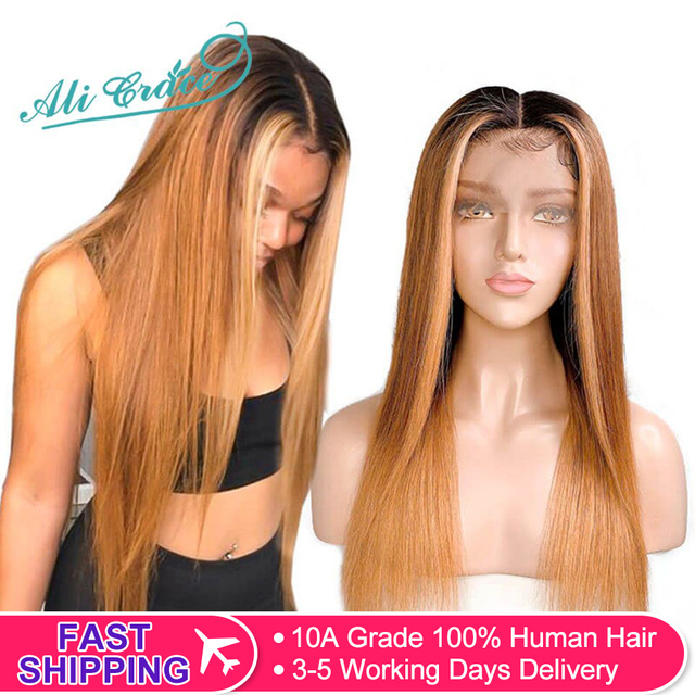 $ US $84.41 Ali Grace 13x6 Ombre Lace Front Wigs 1B/6/27 Brazilian Straight Human Hair Wigs Pre Plucked Hairline With Baby Hair Remy Hair