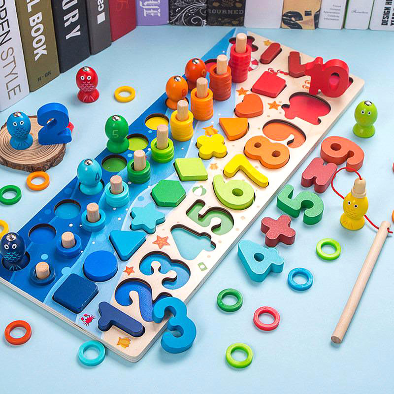 Montessori Toys New Cognition Match Preschool Wooden Count Geometric Shape Math Board Early Education Teaching Mathematical Toy