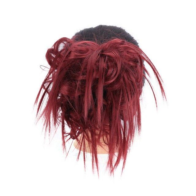 Lupu синтетические мягкие волосы кудрявый пучок женщин кудрявый Грязный серый коричневый цвет волос лента парик шиньон - Цвет: BURG
