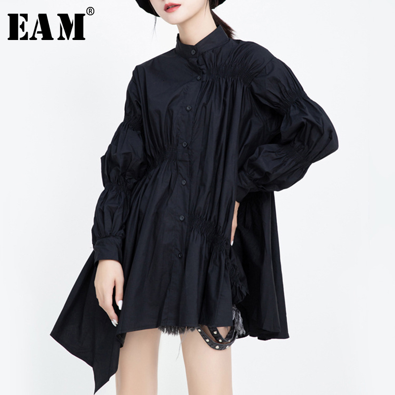 [EAM] Women Pleated Asymmetrical Big Size Blouse New Stand Collar Long Sleeve Loose Fit Shirt Fashion Spring Autumn 2019 1H717
